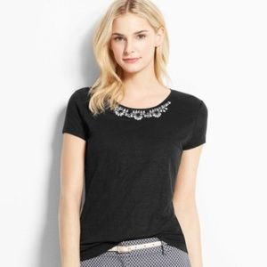Ann Taylor   Linen Black Embellished Neckline Top